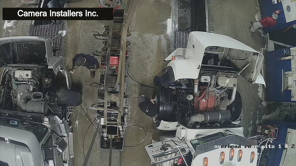 An above view of the vehicles being serviced