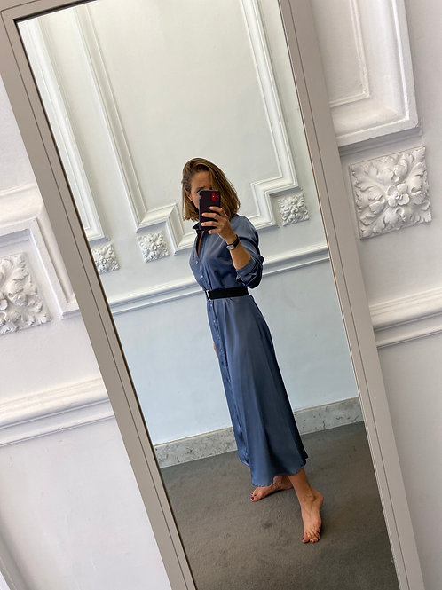 Robe chemise gris/bleu