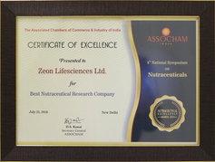 Best Nutraceutical Research Company of the Year 2018, ASSOCHAM India