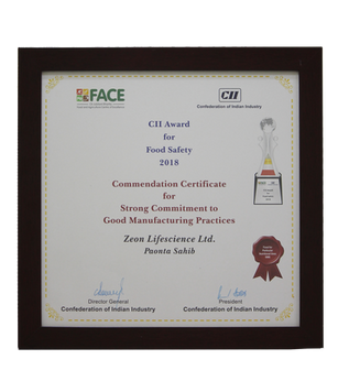 Commendation Certificate for Strong Commitment to GMP, CII award for Food Safety 2018