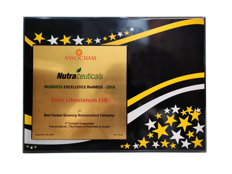 Fastest Growing Nutraceutical Company, Business Excellence Award 2019, ASSOCHAM India