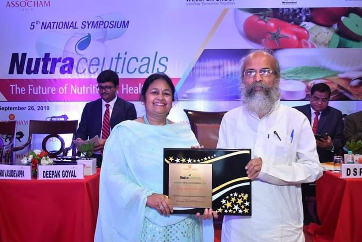 """Zeon Lifesciences proudly receives """"The Fastest Growing Nutraceutical Company of The Year 2019 Award at ASSOCHAM Business Excellence Award Ceremony"""