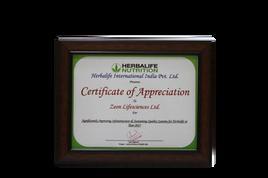 Certificate of Appreciation, Herbalife Nutrition