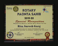 Mr. Suresh Garg, Special Recognition 2019-20, Rotary Paonta Sahib