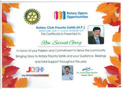 Mr. Suresh Garg- Commitment to Serve the Community- Rotary Club Paonta Sahib (H.P) 2021