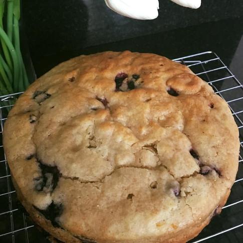 Refined sugar free blueberry cake