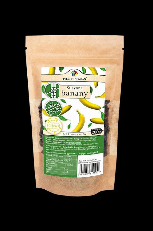 Banany Suszone bez Dodatku Cukru 200g Pięć Przemian