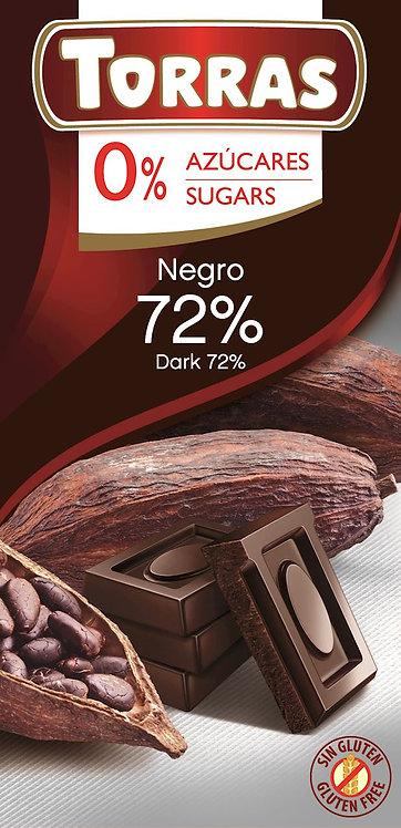 Czekolada Gorzka 72% Kakao Bez Dodatku Cukru 75g Torras