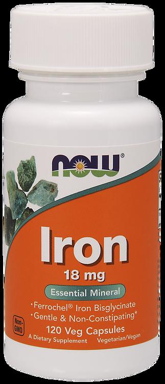 Iron Żelazo 18mg 120kaps NOW FOODS