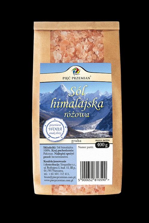 Sól Himalajska Różowa Gruboziarnista 400g Pięć Przemian