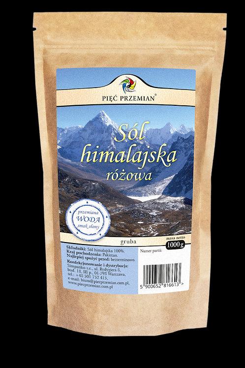 Sól Himalajska Różowa Gruboziarnista 1000g Pięć Przemian