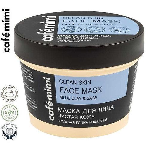 Café mimi Maska do twarzy Oczyszczona cera - Błękitna glina i szałwia, 110 ml