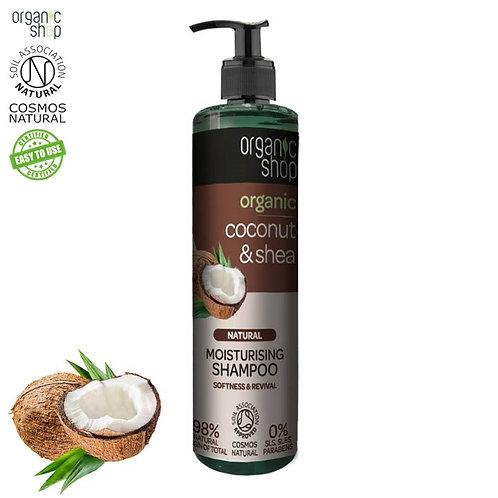 Szampon nawilżający do włosów - Kokos & Shea - Miękkość 280ml Organic Shop
