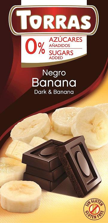Czekolada Gorzka z Bananami Bez Dodatku Cukru 75g Torras