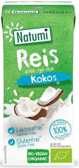 Napój  Ryżowo-Kokosowy Bez Dodatku Cukrów Bezglutenowy BIO 200 ml Natumi