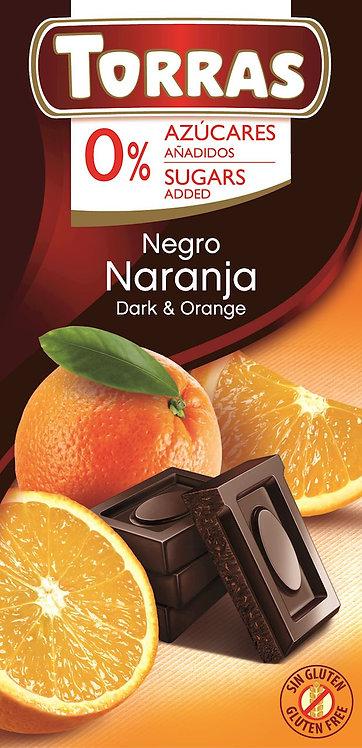 Czekolada Gorzka z Pomarańczami bez Dodatku Cukru 75g Torras