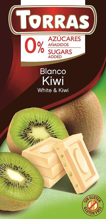 Czekolada Biała z Kiwi bez Dodatku Cukru 75 g Torras