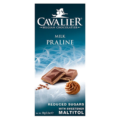 Czekolada Mleczna z Nadzieniem Pralinowym Słodzona Maltitolem 90g Cavalier