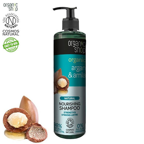 Szampon odżywczy do włosów - Argan & Amla - Siła i blask 280ml Organic Shop