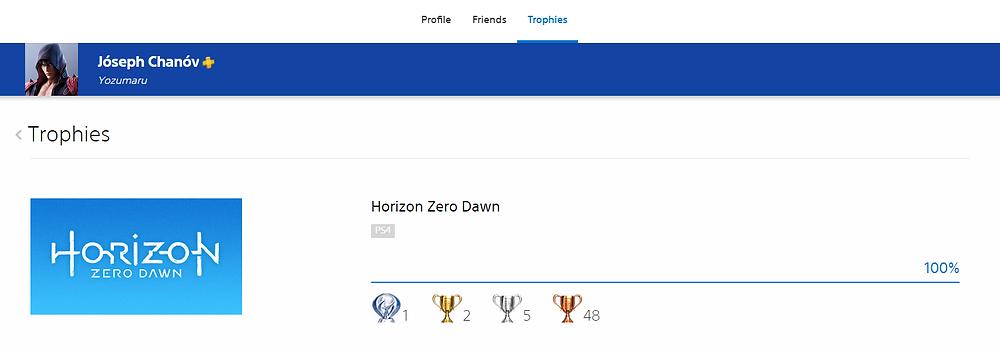 Horizon Zero Dawn Platinum Trophy