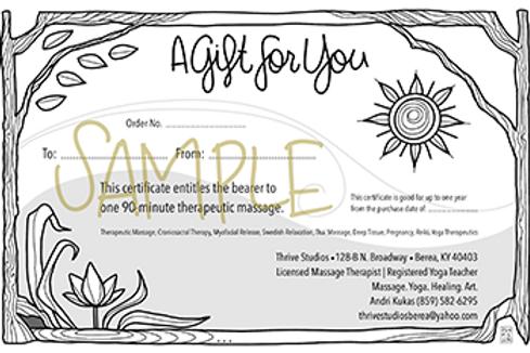 90-min Therapeutic Massage Gift Certificate