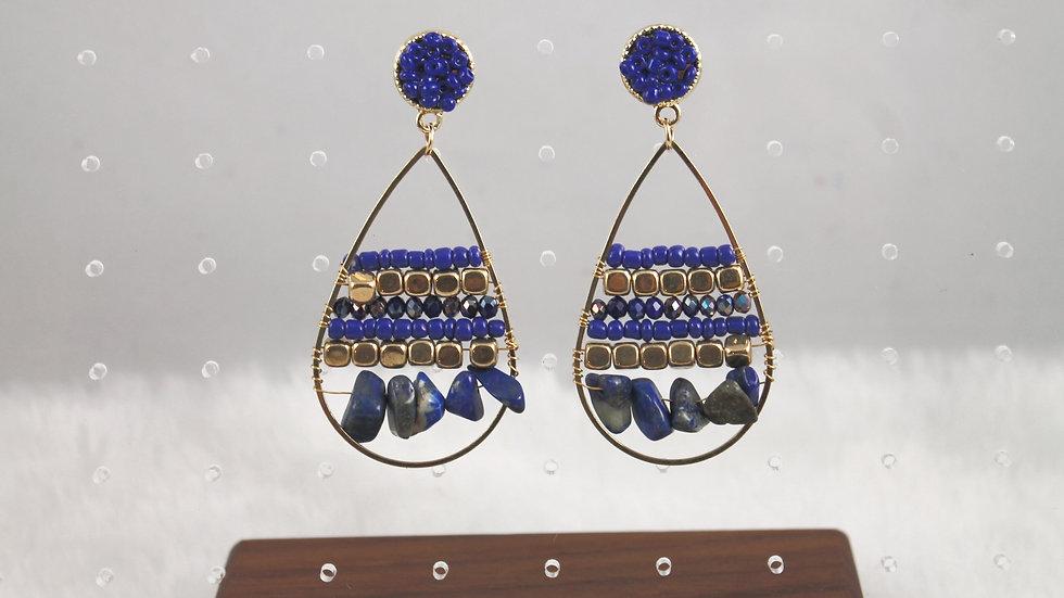 Blue and gold tear drop earrings