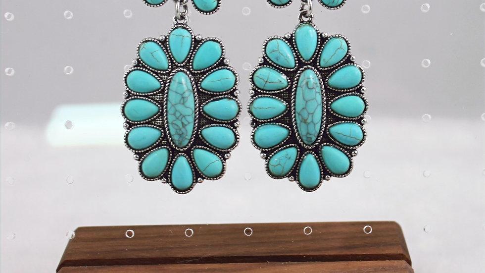 Western Oval Turquoise Drop Earrings