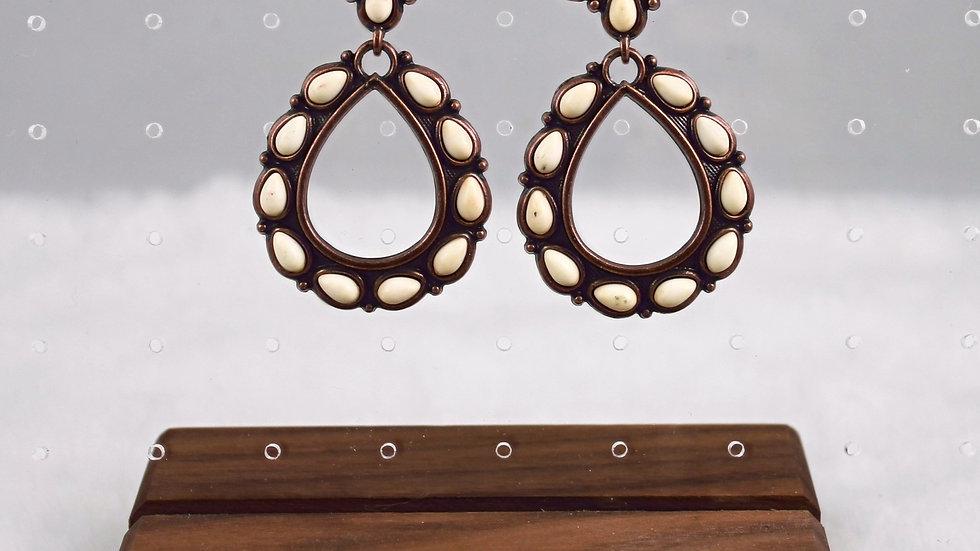Western Design Tear Drop Natural Stones Earrings
