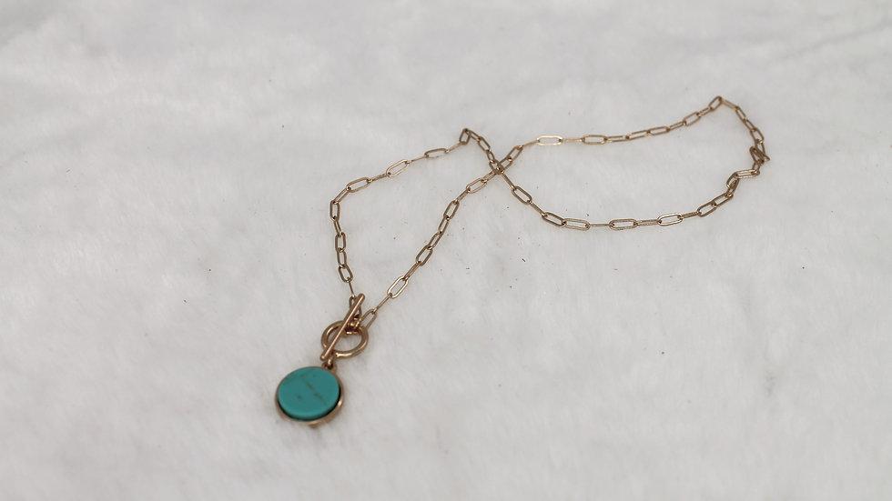 Round Stone Pendant Short Necklace