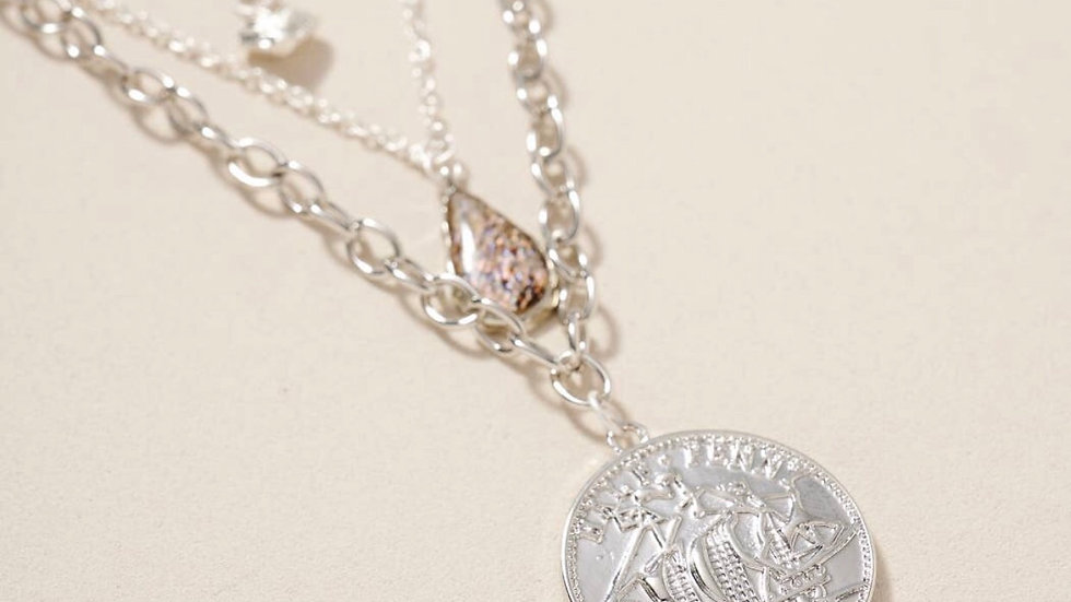 Coin charm glass stone layered necklace