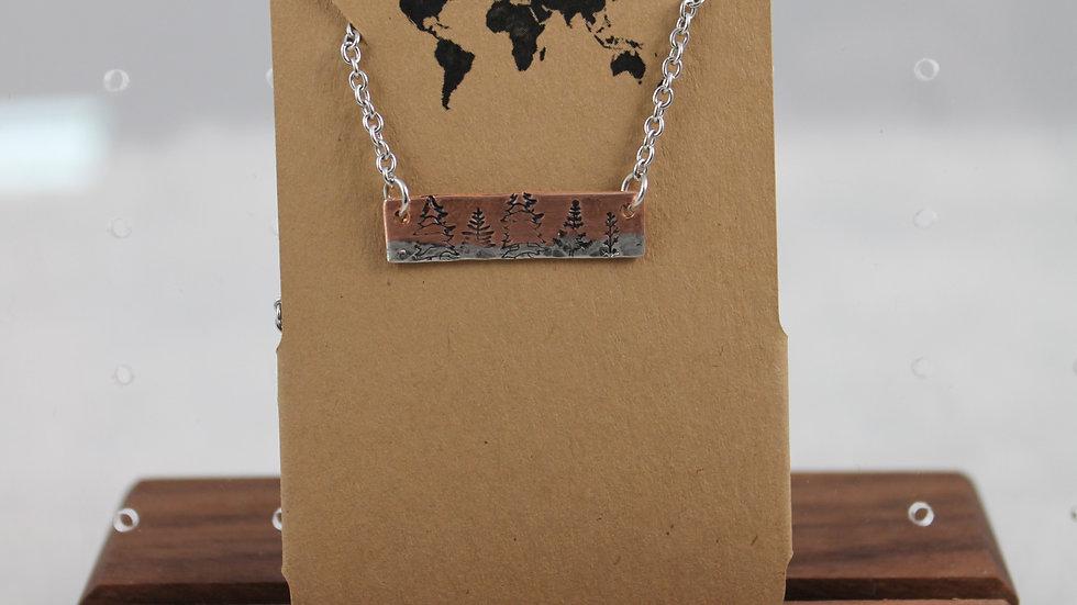 Mixed metal bar necklace- Trees