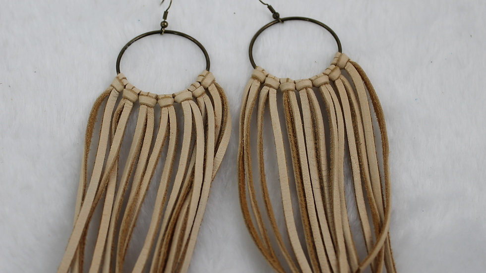 Hand tied leather earrings.