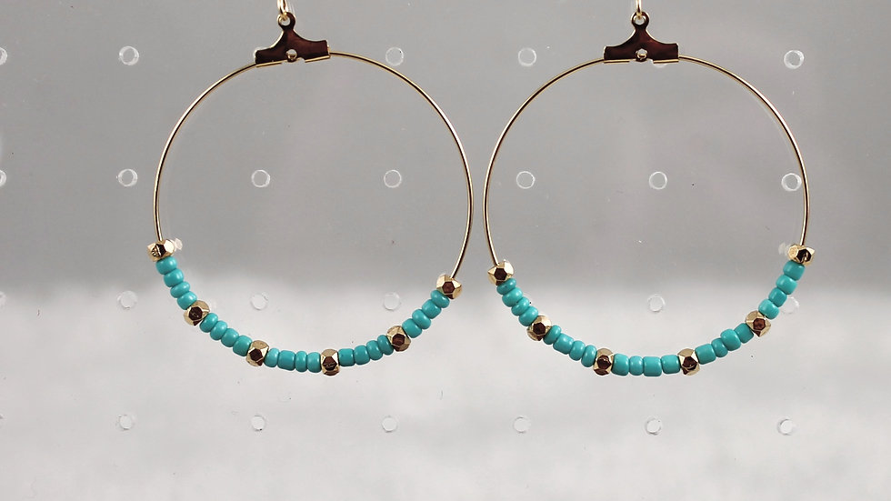 Gold hoops with turquoise and gold beads