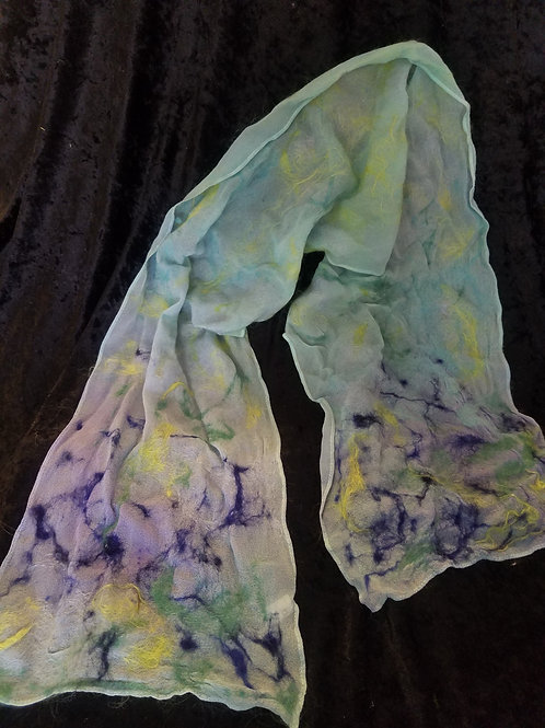 202-Silk Chiffon Scarf with Light Moss Background