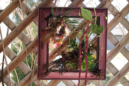 132 - Red Silver Frame Succulent and Amaranthus