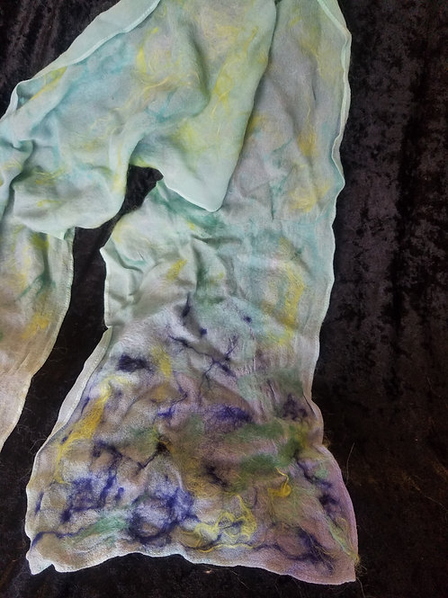 200 - Silk Chiffon Scarf with Green Blue Ombre
