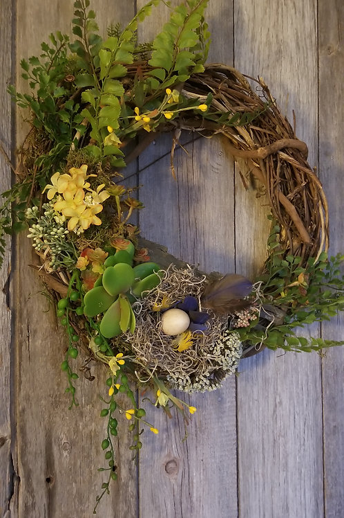 151 - Vine Spring Wreath with Succulent