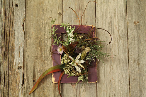 116-Purple distressed frame with wild flowers