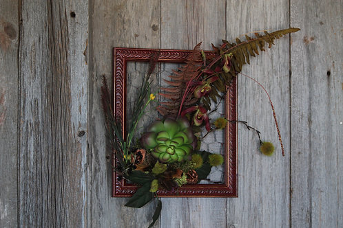 134 - Merlot and Copper Frame with Succulent