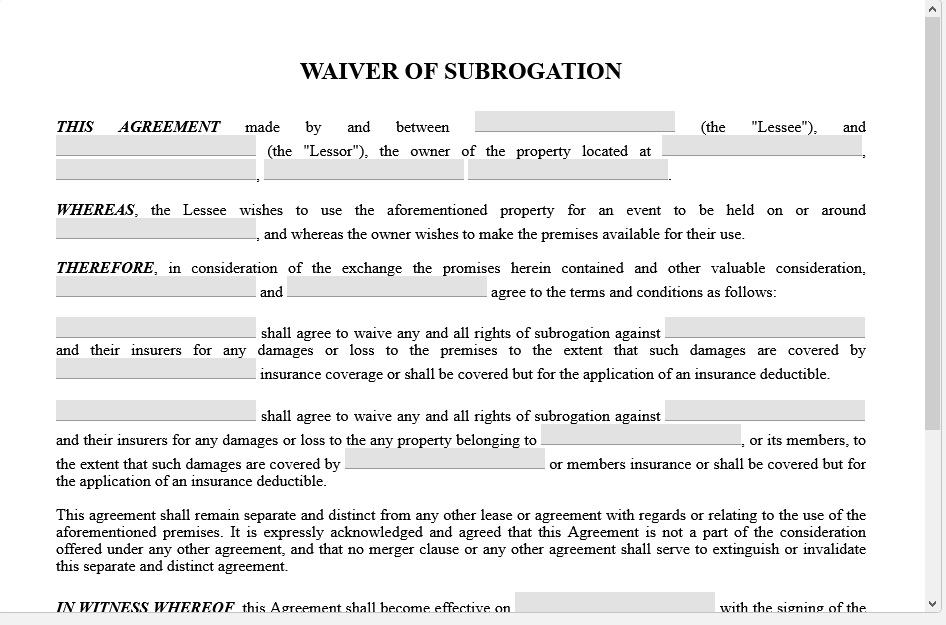 waiver of subrogation in workers comp