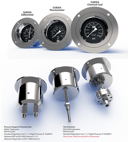 Subsea Products 1ATM Non-Compensated. Subsea Differential, Subsea Thermometer, Subsea Chemical-Seal premium gauges showing faces and connections