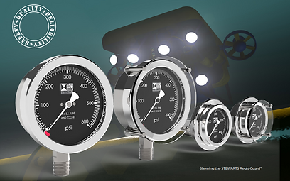 Stewarts-USA premium compensated subsea gauge; silver, lack, aesthetic green spotlight background