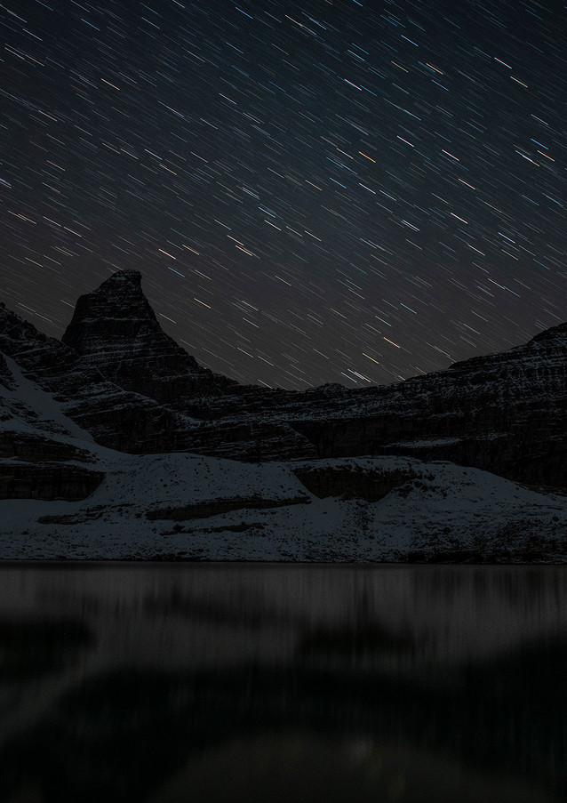 Star trails over Sharkfin Mountain
