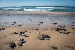 Sand, rocks and waves