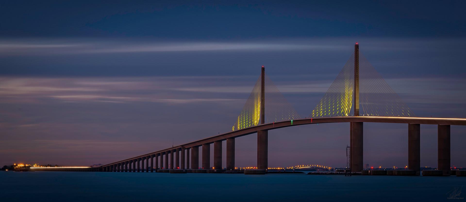 Sunshine Bridge at night
