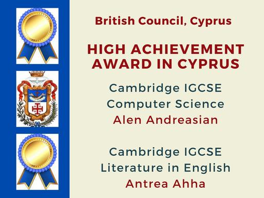 High Achievement Award in Cypurs