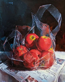 Oil painting by NC artist JJ Jiang of bag of red apples on top of newspaper.