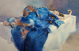 Watercolor painting by NC artist JJ Jiang of young woman reclining in blue kimono.