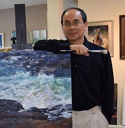 NC Artist JJ Jiang in his studio at the Village Art Circle in Cary, NC.