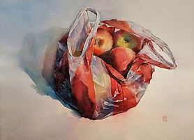 Watercolor painting by NC artist JJ Jiang of bag of red apples.